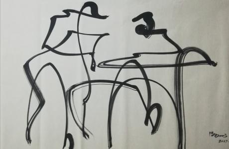 冯五洲抽象画,物事人非系列